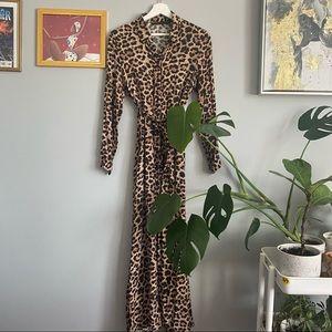Zara Maxi Long Sleeve Leopard Dress With Belt